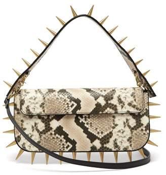 Marques Almeida Marques'almeida - Spiked Snakeskin Effect Leather Shoulder Bag - Womens - Multi