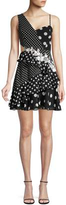 BCBGMAXAZRIA Polka Dot Mini Fit--Flare Dress