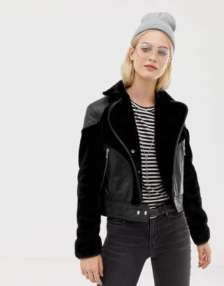 AllSaints Zola leather jacket with faux fur panels