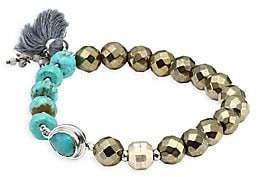 Chan Luu Women's Metallic Beaded Tassel Bracelet