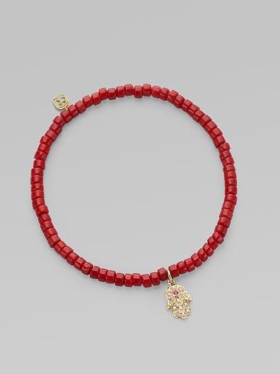 Sydney Evan Diamond, Coral & 14K Yellow Gold Bracelet