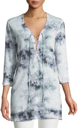 Majestic Linen Tie-Dye Lace-Up Tunic