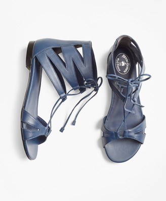 Brooks Brothers Leather Lace-Up Sandals