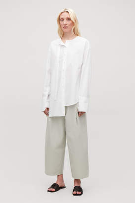 Cos LONG-PLACKET COLLARLESS SHIRT