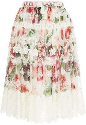 Dolce & Gabbana peony print midi skirt