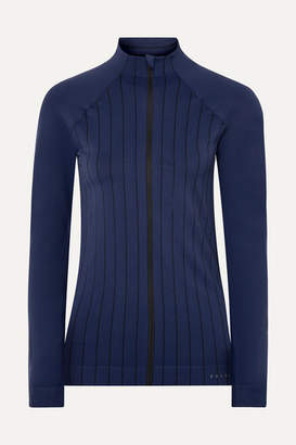 Falke Ergonomic Sport System - Act 1 Paneled Striped Stretch-knit Jacket - Indigo