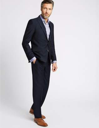 Marks and Spencer Big & Tall Navy Tailored Fit Wool Jacket