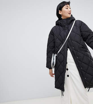 Monki quilted lightweight coat with hoodie in black
