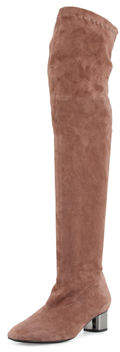 Robert Clergerie Piloul Stretch-Suede Knee Boot