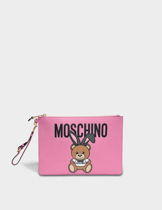 Moschino Teddy Playboy Large Pouch Bag in Pink Saffiano