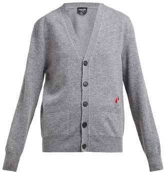 Calvin Klein Drop Embroidered Wool Blend Cardigan - Womens - Grey