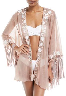 Flora Bella Azmara Open-Front Embroidered Mesh Kimono Coverup, One Size