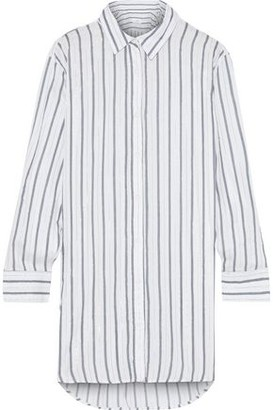 Onia Marie Metallic Striped Washed-voile Coverup