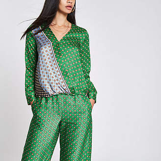 River Island Green tile print tuck front blouse
