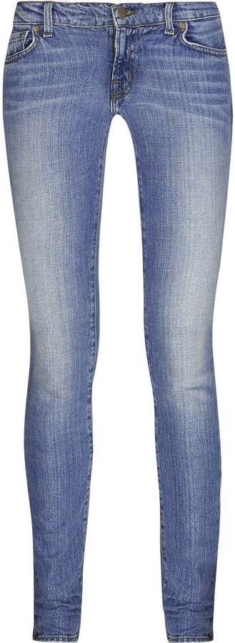 J Brand Low-rise skinny faded jeans