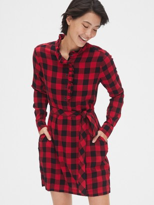 Gap Plaid Ruffle-Neck Popover Shirtdress