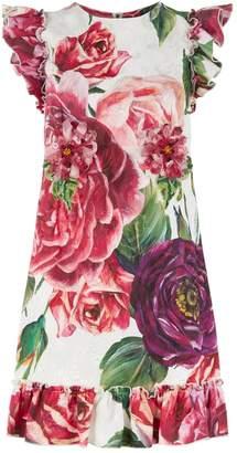 Dolce & Gabbana Embellished Peony Print Dress
