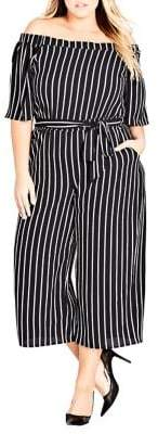 City Chic Plus Striped Play Jumpsuit