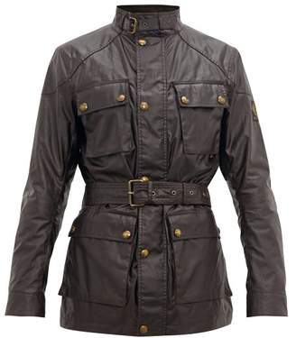 Belstaff Trialmaster Waxed Cotton Field Jacket - Mens - Burgundy