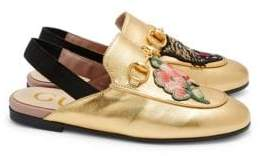 Gucci Kid's Princetown Embroidered Metallic Leather Slingback Loafers