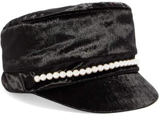 Eugenia Kim Elyse Faux Pearl-embellished Velvet Cap - Black