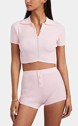 Live The Process Women's Rib-Knit Crop Polo Shirt - Pink
