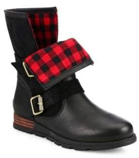 Sorel Major Leather and Suede Moto Boots