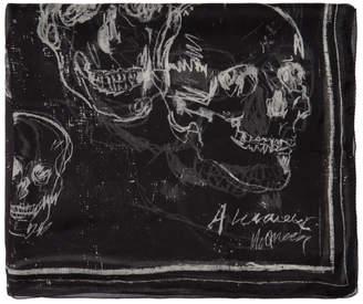 Alexander McQueen Black Silk Graffiti Scarf