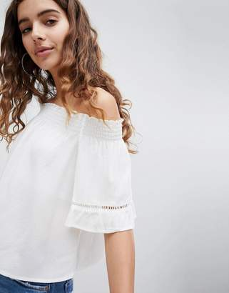 Bershka Plain Bardot In White