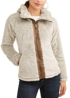 Climate Concepts Women's Fluffy Fleece Full Zip Jacket with Convertible Collar