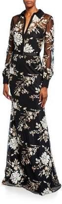 Badgley Mischka Floral Sequin Long-Sleeve Shirtdress