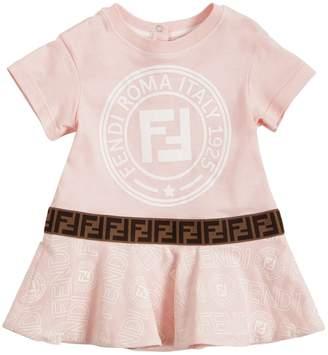 Fendi Logo Print Cotton Jersey Dress