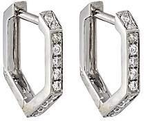 Eva Fehren Women's Hexagon Hoop Earrings-White Gold