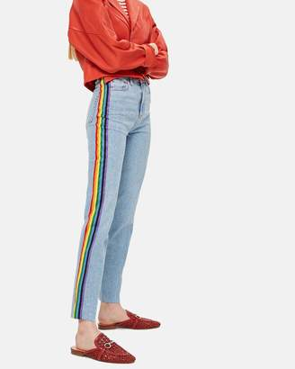 Topshop MOTO Rainbow Striped Jeans