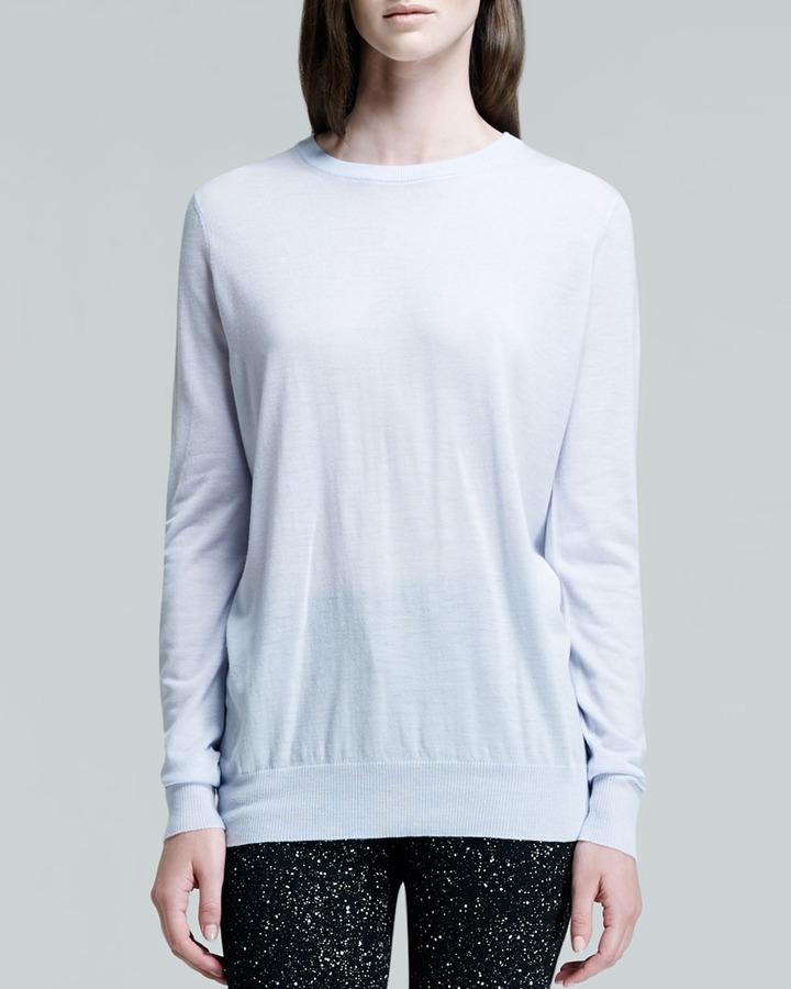 Proenza Schouler Long-Sleeve Crewneck Sweater, Periwinkle