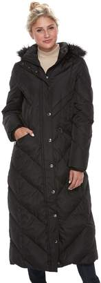 London Fog Tower By Women's TOWER by Faux-Fur Trim Down Long Puffer Jacket