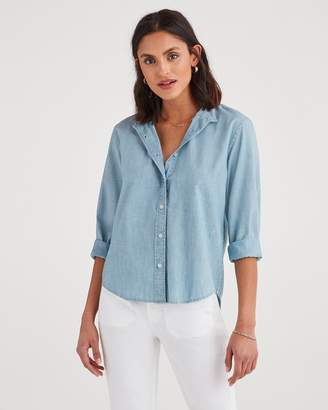 7 For All Mankind Button Front Shirt in Stoned Blue