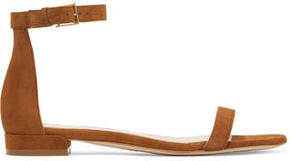 Stuart Weitzman Lessnudist Suede Sandals - Tan