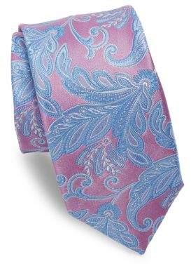 Ike Behar Pink Paisley Silk Tie