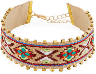 Panacea Embroidered Choker Necklace, Beige