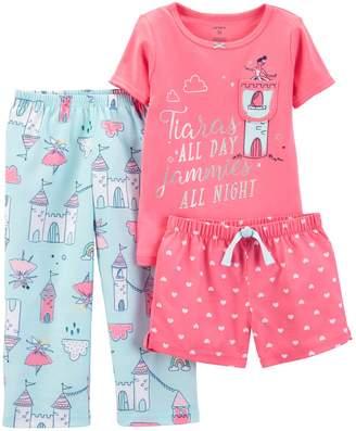 Carter's Toddler Girl Princess Tiara Top, Shorts & Pants Pajama Set