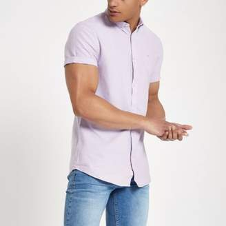 River Island Purple short sleeve Oxford shirt