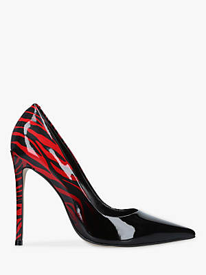 Carvela Alice Stiletto Heel Court Shoes, Black/Red Patent