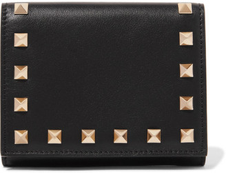Valentino - The Rockstud French Leather Wallet - Black $545 thestylecure.com
