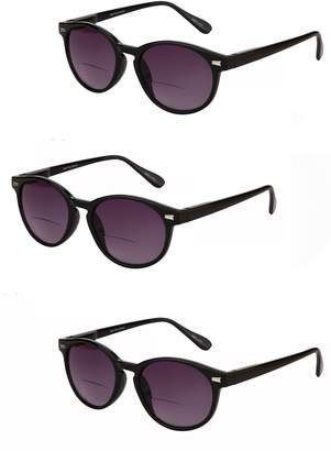 """Brilliance+ Mass Vision 3 Pair of""""The Brilliance"""" Unisex Bifocal Reading Sunglasses - Soft Pouches Included (, 1.25)"""