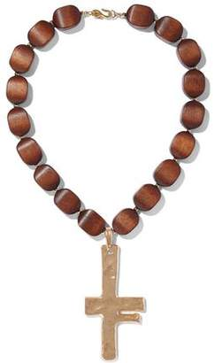 Kenneth Jay Lane Hammered Gold-Tone Wood Necklace