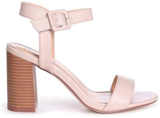 5d8cb58e276 BEIGE Linzi KATE Nappa Open Toe Stacked Block Heel With Ankle Strap