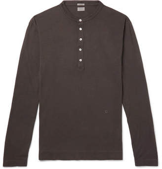 Massimo Alba Slim-fit Garment-dyed Cotton And Cashmere-blend Henley T-shirt - Brown