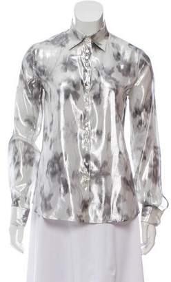 Armani Collezioni Metallic Silk Button-Up Top w/ Tags