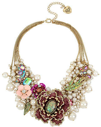 Betsey Johnson Blooming Betsey Pink Glitter Flower & Pearl Statement Necklace